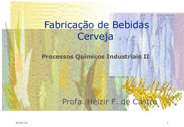 16/05/14 1 Fabricação de Bebidas Cerveja Processos Químicos Industriais II Profa. Heizir F. de Castro