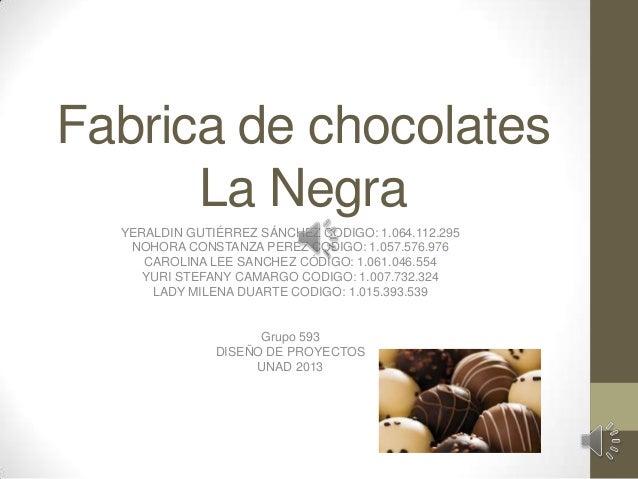 Fabrica de chocolates La Negra YERALDIN GUTIÉRREZ SÁNCHEZ CODIGO: 1.064.112.295 NOHORA CONSTANZA PEREZ CODIGO: 1.057.576.9...