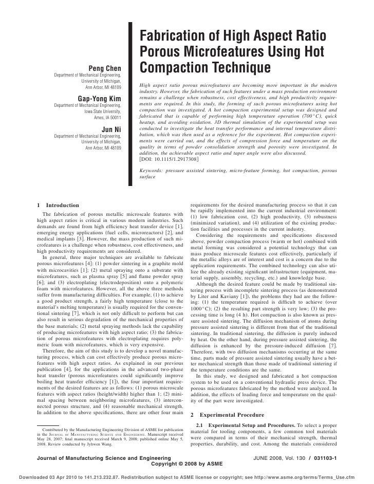 Fabrication of High Aspect Ratio                                                              Porous Microfeatures Using H...