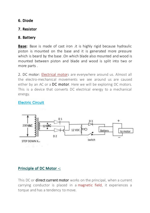 Fabrication of hydraulic wood splitter machine Report