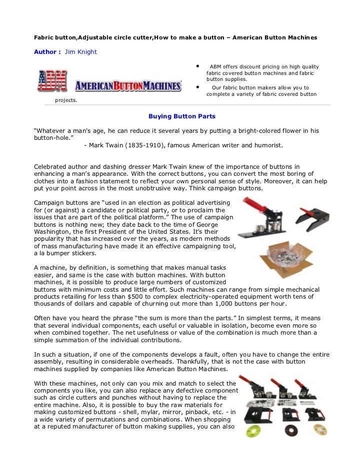 Fabric button,Adjustable circle cutter,How to make a button – American Button MachinesAuthor : Jim Knight                 ...