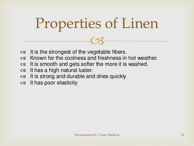 Physical Properties Of Linen