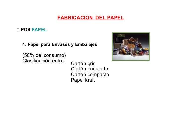 4. Papel para Envases y Embalajes   (50% del consumo)  Clasificación entre: TIPOS  PAPEL Cartón gris Cartón ondulado Carto...