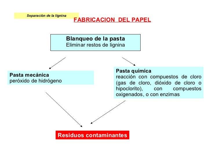 Separación de la lignina Blanqueo de la pasta Eliminar restos de lignina Pasta química reacción con compuestos de cloro (g...
