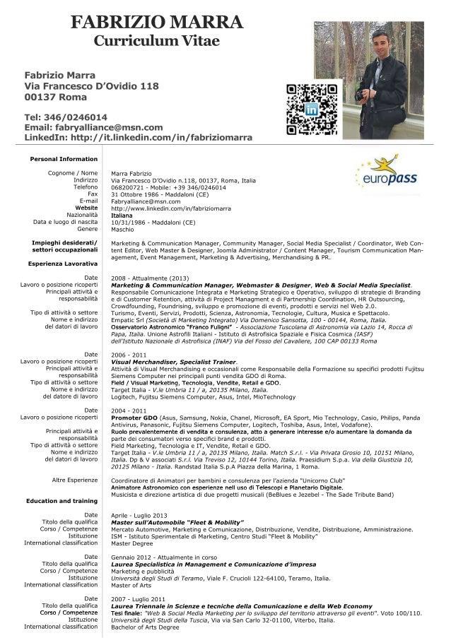 fabrizio marra - curriculum vitae 2013