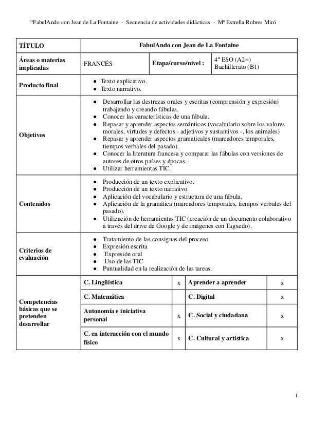 """""""FabulAndo con Jean de La Fontaine - Secuencia de actividades didácticas - Mª Estrella Robres Miró 1 TÍTULO FabulAndo con ..."""