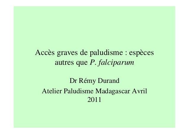 Accès graves de paludisme : espècesautres que P. falciparumDr Rémy DurandAtelier Paludisme Madagascar Avril2011