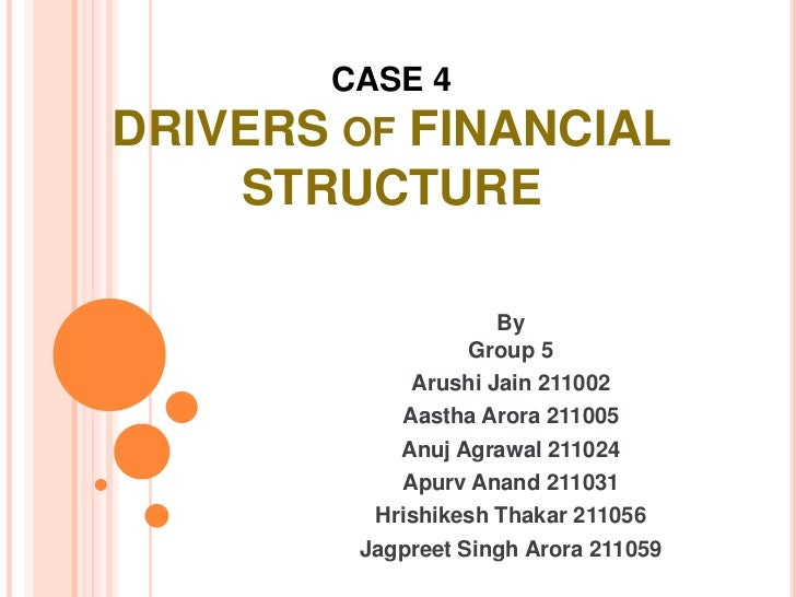 CASE 4DRIVERS OF FINANCIAL    STRUCTURE                    By                  Group 5            Arushi Jain 211002      ...