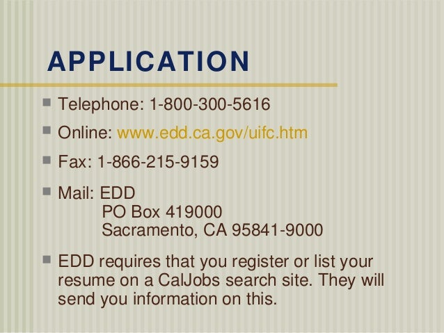 california edd filing procedure