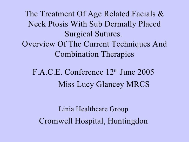 The Treatment Of Age Related Facials & Neck Ptosis With Sub Dermally Placed           Surgical Sutures.Overview Of The Cur...