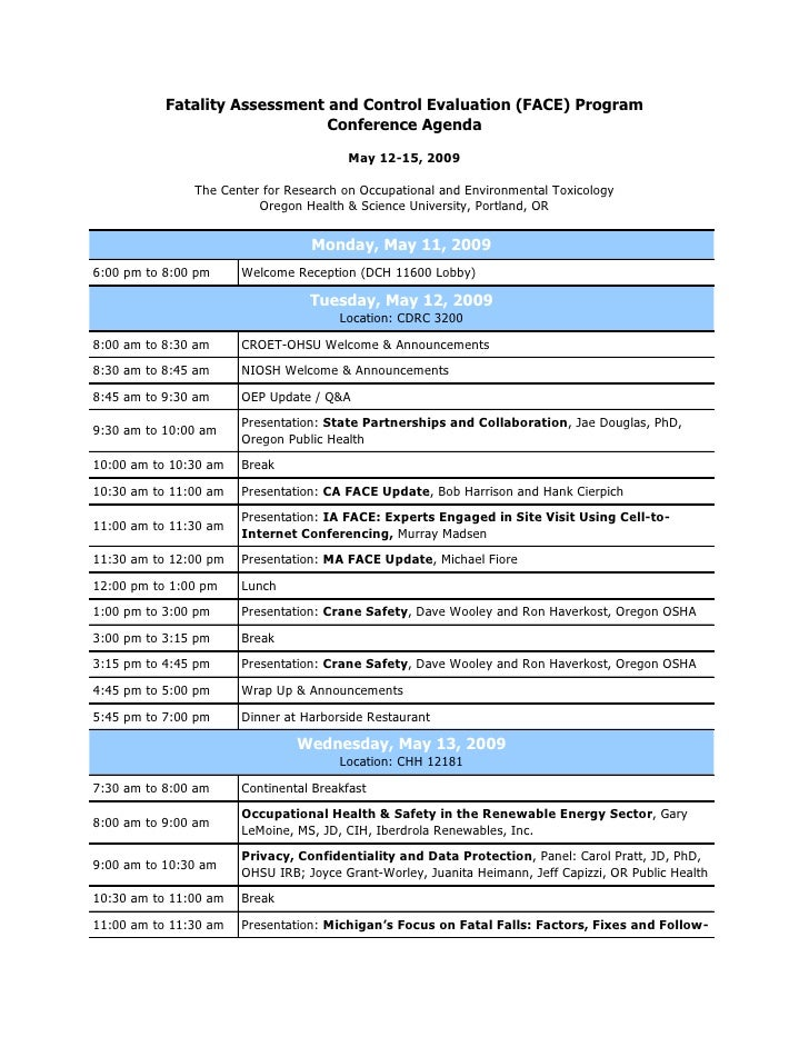 Fatality Assessment and Control Evaluation (FACE) Program                                Conference Agenda                ...