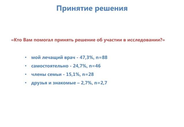 Принятие решения «Кто Вам помогал принять решение об участии в исследовании?» • мой лечащий врач - 47,3%, n=88 • самостоят...