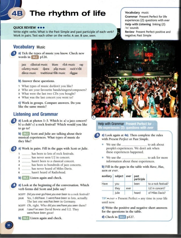 QUICK REVIEW 0 0 0  Vocabulary Music  0 a) Tick the types of music you know.  Check new words in m p126.  jazz classical m...