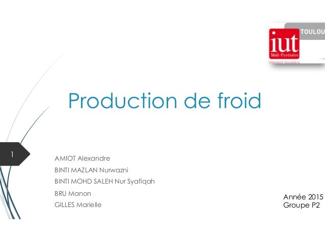 Production de froid AMIOT Alexandre BINTI MAZLAN Nurwazni BINTI MOHD SALEH Nur Syafiqah BRU Manon GILLES Marielle 1 Année ...