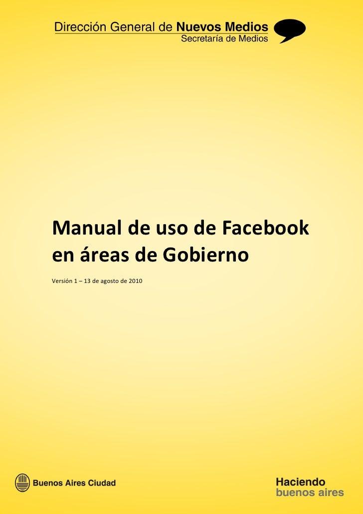 Manual de uso de Facebook en áreas de Gobierno
