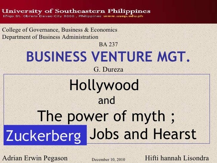 December 10, 2010 College of Governance, Business & Economics Department of Business Administration BA 237 BUSINESS VENTUR...