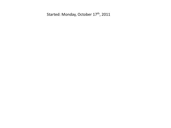Started: Monday, October 17th, 2011