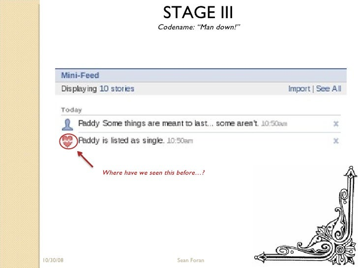 """06/05/09 Sean Foran STAGE III Codename: """"Man down!"""" Where have we seen this before…?"""