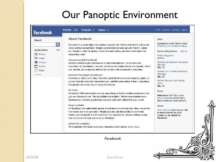 06/05/09 Sean Foran Our Panoptic Environment Facebook