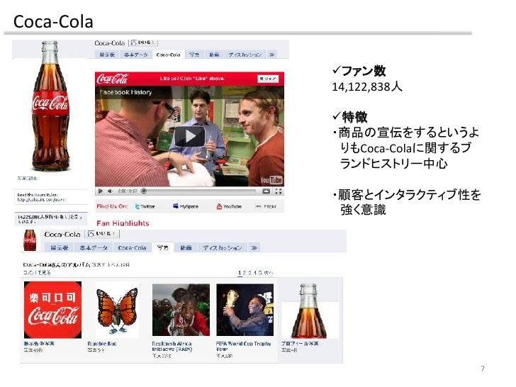 Coca-Cola              ファン数             14,122,838人              特徴             ・商品の宣伝をするというよ              りもCoca-Colaに関...