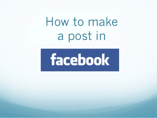How to make a post in