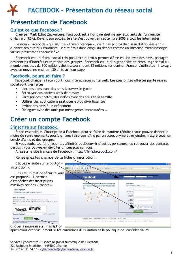FACEBOOK – Présentation du réseau social Présentation de Facebook Qu'est ce que Facebook ? Créé par Mark Elliot Zuckerberg...
