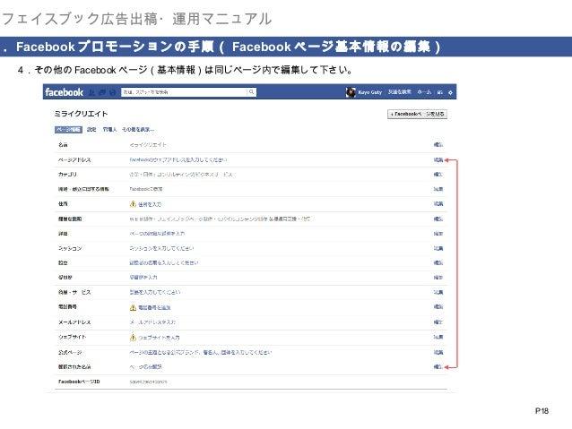 フェイスブック広告出稿・運用マニュアル  . Facebook プロモーションの手順( Facebook ページ基本情報の編集) 4.その他の Facebook ページ(基本情報)は同じページ内で編集して下さい。   P18