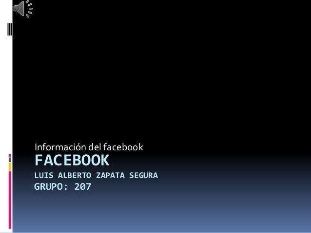 FACEBOOK LUIS ALBERTO ZAPATA SEGURA GRUPO: 207 Información del facebook