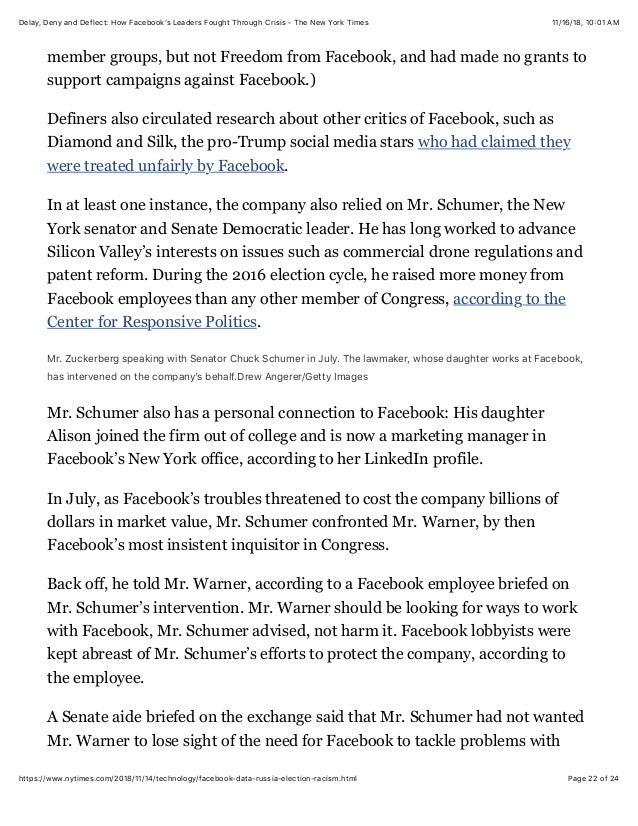 Delay, Deny and Deflect: How Facebook's Leaders Fought