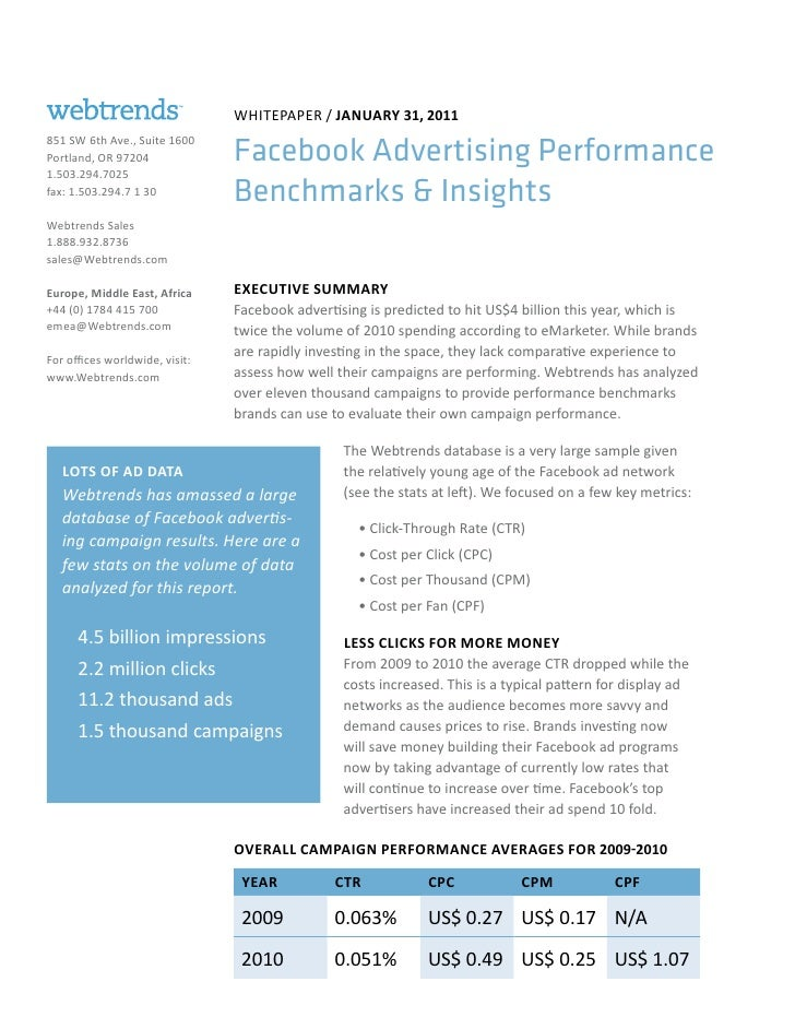WhitePAPeR / JAnuAry 31, 2011851 SW 6th Ave., Suite 1600Portland, OR 97204              Facebook Advertising Performance1....