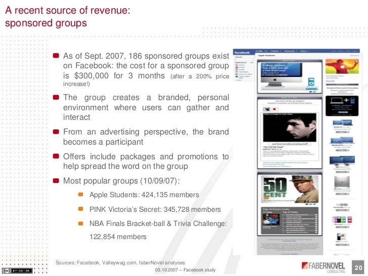 A recent source of revenue: sponsored groups                As of Sept. 2007, 186 sponsored groups exist              on F...