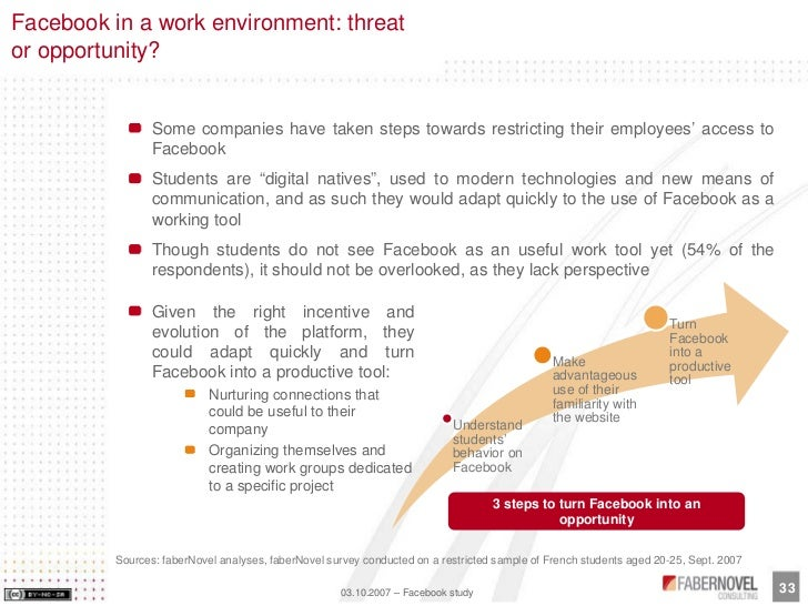 Facebook in a work environment: threat or opportunity?                    Some companies have taken steps towards restrict...