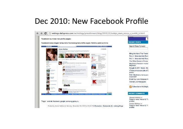 Dec 2010: New Facebook Profile