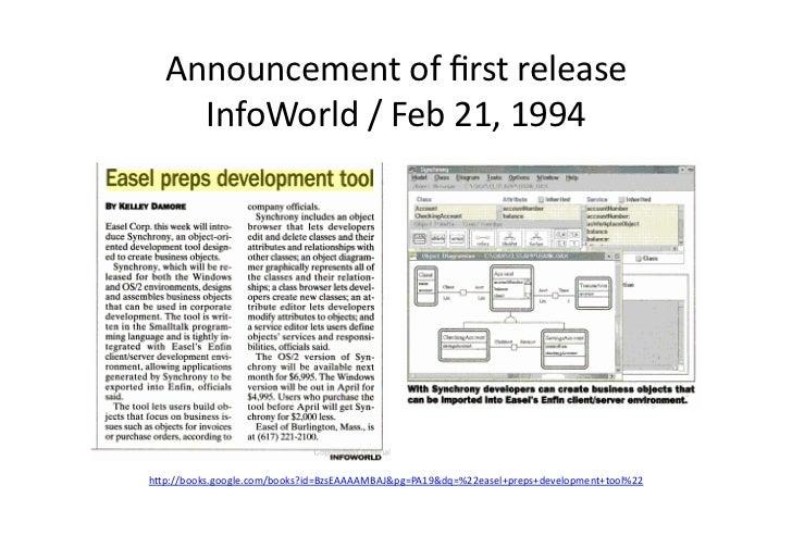 Announcement of first release      InfoWorld / Feb 21, 1994 h/p://books.google.com/books?id=BzsEAAAAMBAJ&...