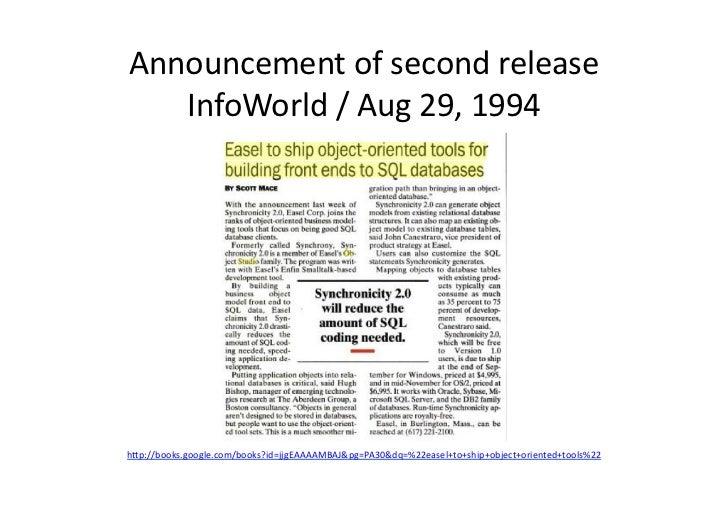 Announcement of second release    InfoWorld / Aug 29, 1994 h/p://books.google.com/books?id=jjgEAAAAMBAJ&...