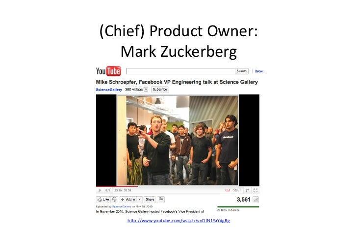 (Chief) Product Owner:    Mark Zuckerberg      h/p://www.youtube.com/watch?v=DfN1YaYdgRg