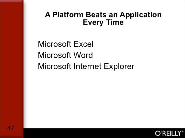 A Platform Beats an Application                 Every Time       Microsoft Excel      Microsoft Word      Microsoft Intern...