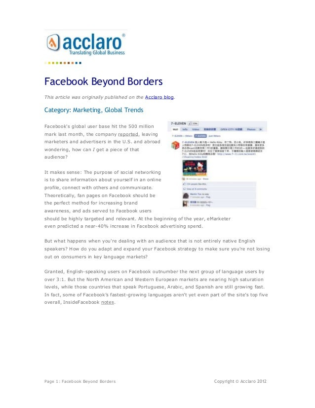 Facebook Beyond BordersThis article was originally published on the Acclaro blog.Category: Marketing, Global TrendsFaceboo...