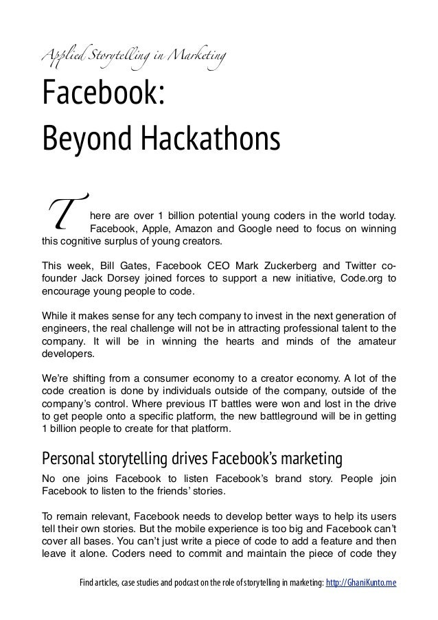 A!lied Storytelling in MarketingFacebook:Beyond HackathonsT           here are over 1 billion potential young coders in th...