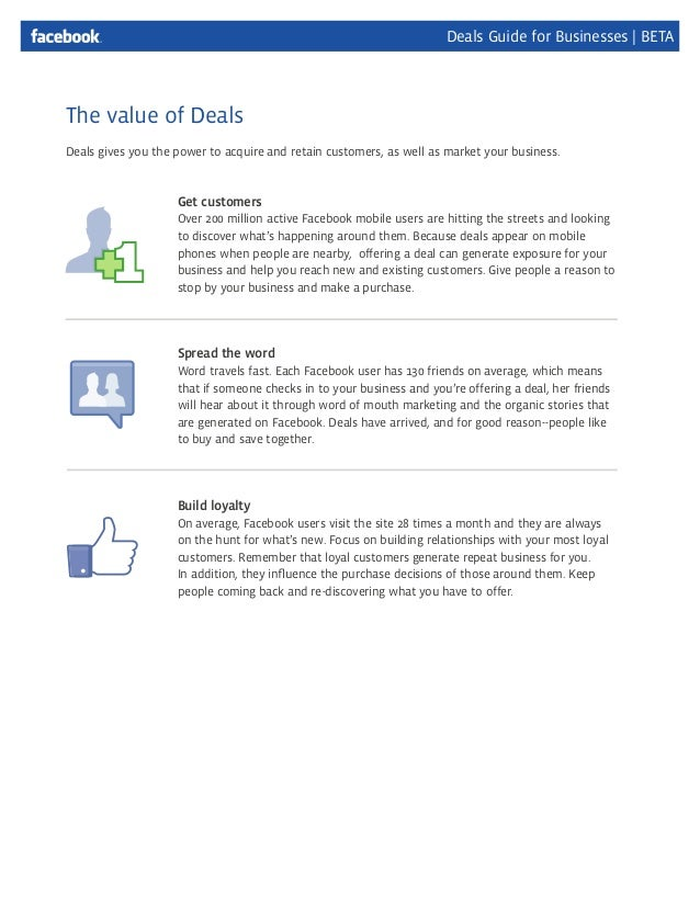 Facebook deals for business