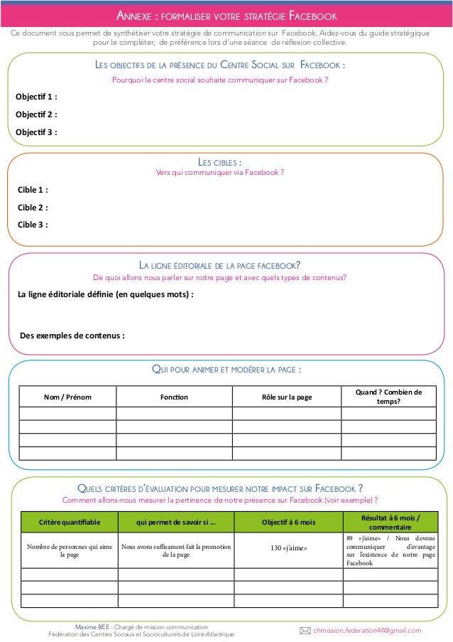 Annexe : formaliser votre stratégie Facebook Ce document vous permet de synthétiser votre stratégie de communication sur F...