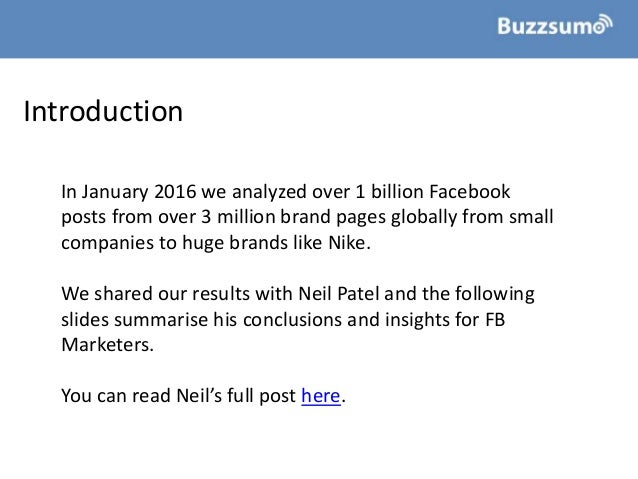 How To Improve Facebook Engagement: Insights from 1bn Posts Slide 2