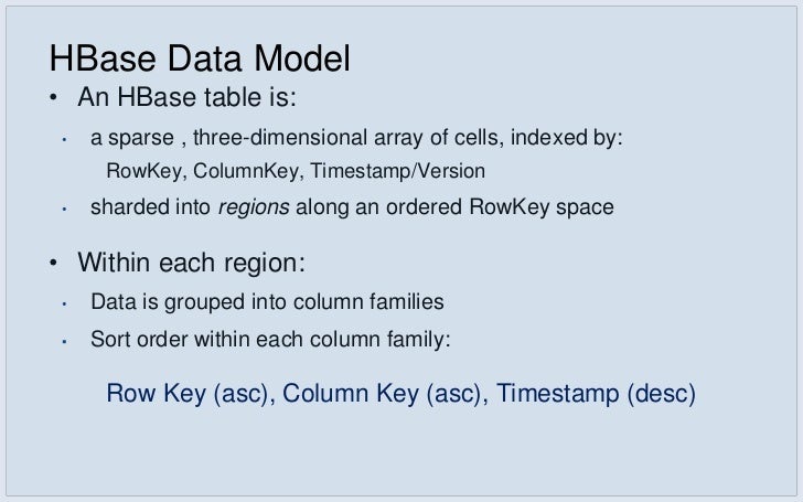Example: Inbox Search• Schema •   Key: RowKey: userid, Column: word, Version: MessageID •   Value: Auxillary info (like of...