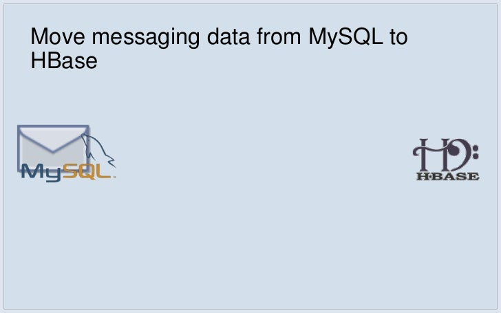 Move messaging data from MySQL to HBase▪   In MySQL, inbox data was kept normalized    ▪   user's messages are stored acro...