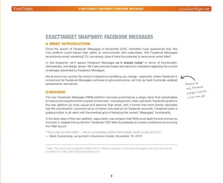 exacttarget snapshot: Facebook Messages                                  www.ExactTarget.com                      Some of ...