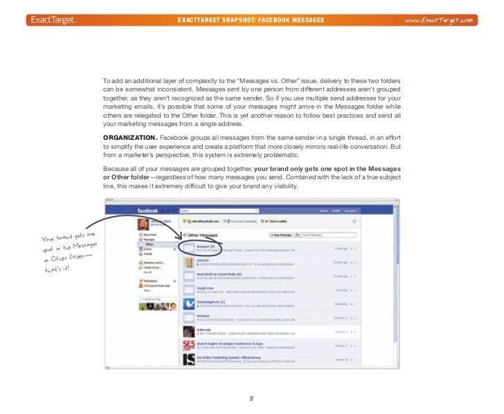 exacttarget snapshot: Facebook Messages                                         www.ExactTarget.comOne more organizational...