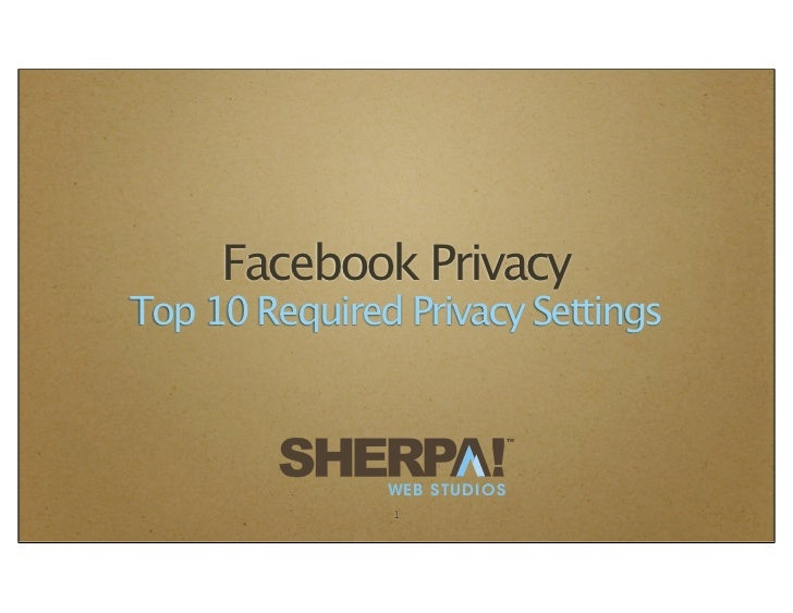 Facebook PrivacyTop 10 Required Privacy Settings                             TM               WEB STUDIOS               1
