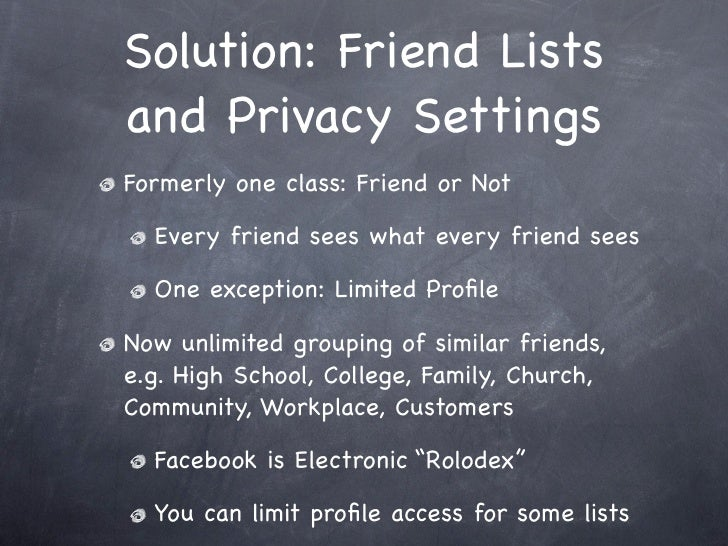 Facebook Professional Friends, Personal Privacy