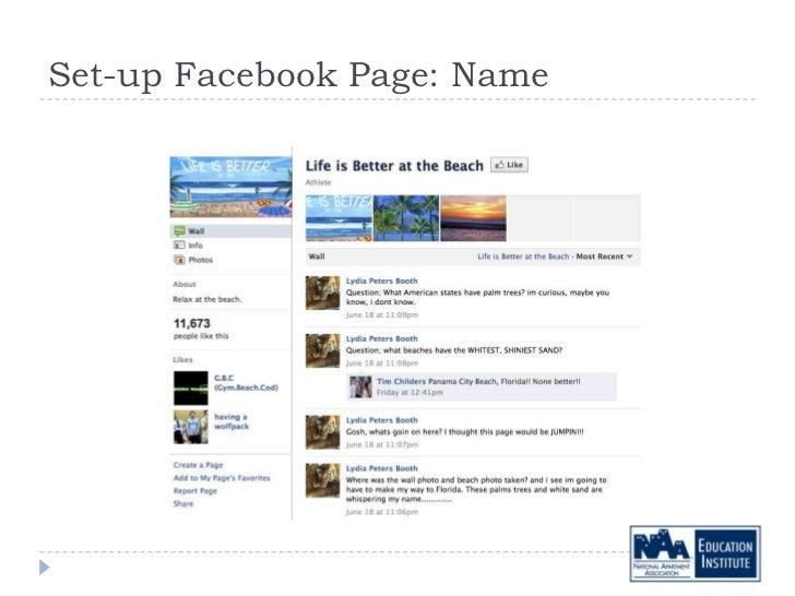 Set-up Facebook Page: Name
