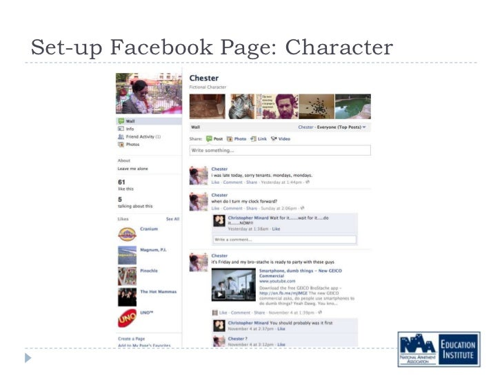Set-up Facebook Page: Character